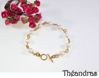 Mesh Bracelet pearls gold plated Theandras plus size