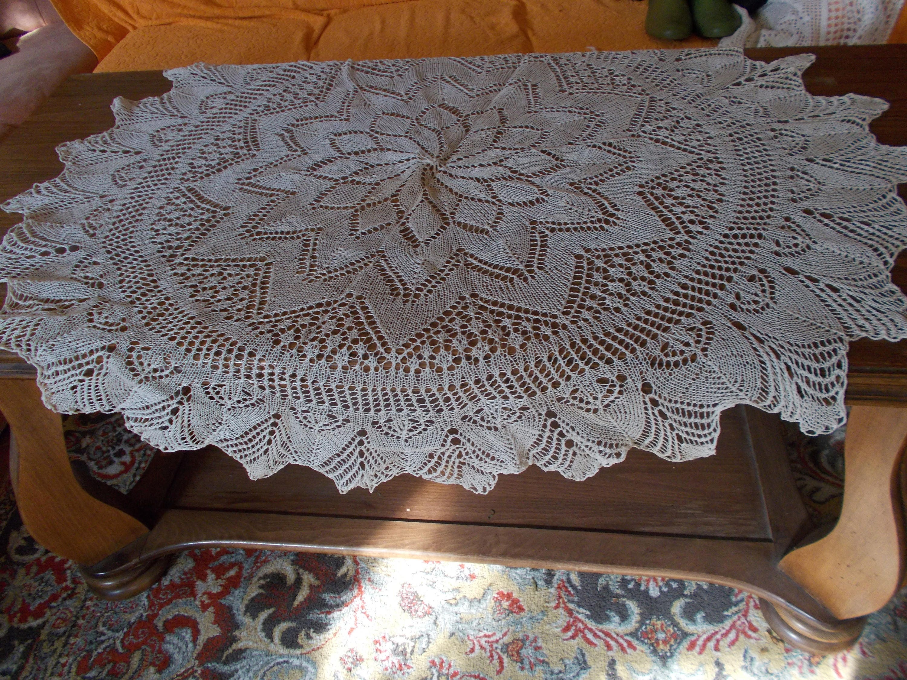 Vintage knitted round table cloth White Lace table cloth