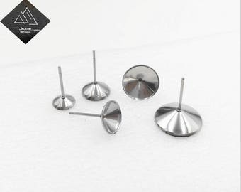 100pcs Stud Earring Blank,Stainless Steel Earring Stud Settings With Earring Backings,Stud Earring Blank,Bezel Setting Stud Earrings