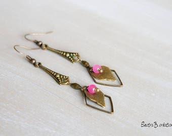 "Bohemian earrings pink jade and bronze brass ""Arrow"""
