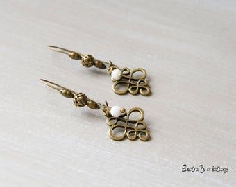 Bronze earrings Oriental white jade and brass