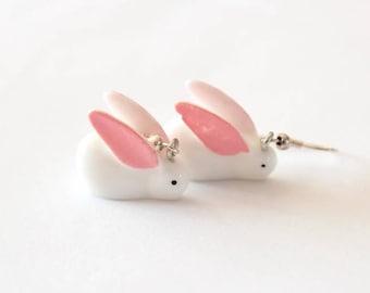 White Rabbit resin earrings