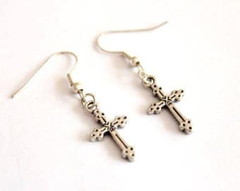 Cross earrings in silver #2
