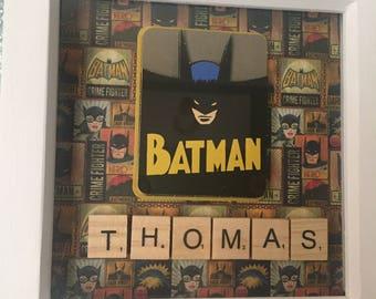 BATMAN super hero, boys bedroom 3d decoupage scrabble lettered personailsed wall picture