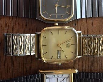 Bulova/caravelle vintage  mens watch lot (3) quartz rectangular running quartz 87/94- 1 newer all for