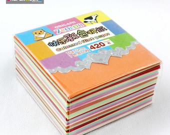 Assorted mixed color, 77 x 77 mm 420 pcs /sachet origami paper