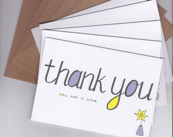 Thank You Card Pack - Thank You Cards Set - Set of 5 - Thank You Cards - Floral Thank You Cards, Floral Thankyou Cards, Illustrated Cards