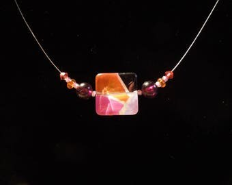 Orange with pink glass bead Choker necklace