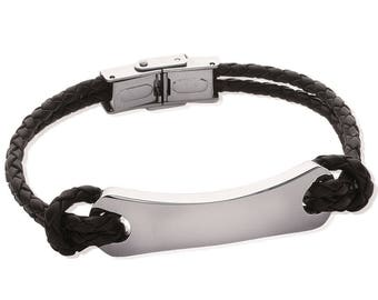 Braided black leather and steel curb chain and clasp bracelet