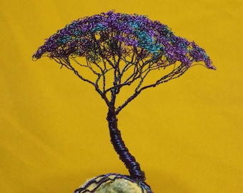 Wire tree, African Acacia geode quartz, wire tree