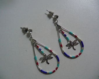 novelty earrings creole Indian beads and filigree dragonfly