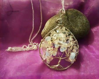 Opal Quartz Wire Tree Necklace
