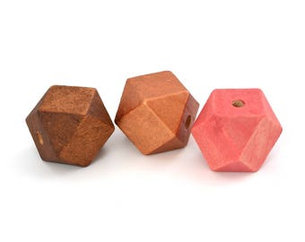 3 large Brown, pink and copper 20mm polygon beads