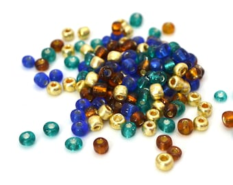 10 gr large blue, gold, brown glass 4mm seed beads / MPERRO051