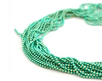 chain 50cm gold-plated 1.2 mm metal and metallic turquoise beads