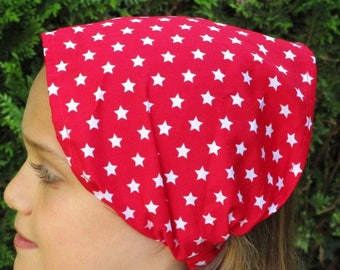 red stars cotton kerchief/scarf white for girl