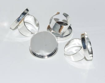Ring / tray with Metal frame - 17.75 mm adjustable - circular (25 mm) - clear silver - BAPLA2515LAG178 Cabochon