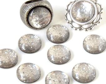 Cabochon resin - Glitter - circular (12mm) - grey