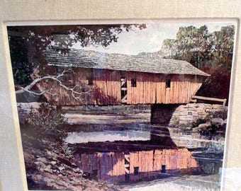 1970 Signed Eric Sloane lithograph of covered bridge