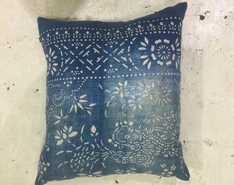 """Chinese Blue Indigo Batik Pillow Vintage   15.5"""" x 13.5"""""""