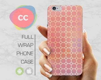 Pink Gold Pattern Phone Case - iPhone 7 Case - iPhone 8 Case - iPhone 6 Case - iPhone 5 Case - iPhone X Case - Samsung S8 Case - PC-298