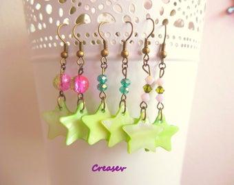 Earrings 'lime green stars'