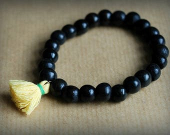Bracelet Tibet yellow wood beads