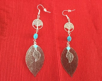 Earring tree of life and filigree leaves
