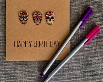 Mexican 'Day of the Dead' Skulls Birthday Card
