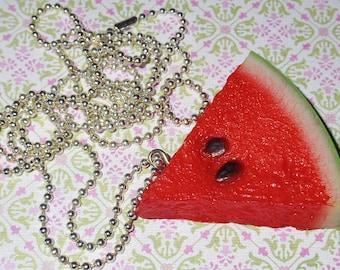 Delicious slice of juicy watermelon necklace