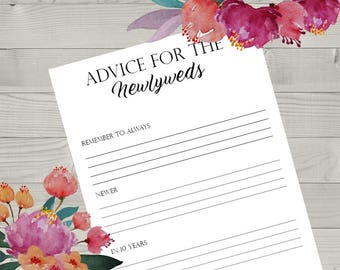 Advice For The Newlyweds Wedding Game Printable, Wedding Reception Game, Fun Wedding Game, Creative Wedding Activities, Wedding Organizing