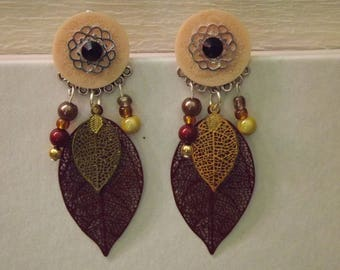 Brown and gold filigree earrings