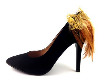 Shoe Clips - Brown Feather Shoe Clips - Gold - Feather Shoe Clips - Shoe Jewelry - Shoe Jewellery - Accessories for Shoes - PF001