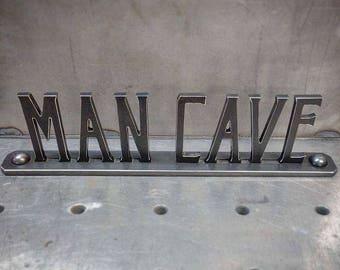 """Vintage- Industrial style steel """"MAN CAVE"""" nameplate"""