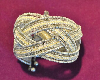 Vintage 1970's Boho/ Tribal Silver Coloured Memory Wire Cuff Bracelet