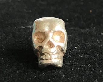 Sterling Silver .925 Handmade Slide/Bead Memento Mori Skull