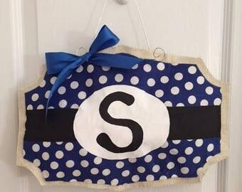 Monogram Polka dot Burlap Door Hanger