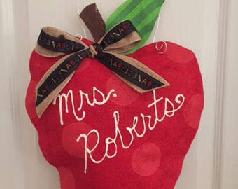 Teacher Apple Burlap Door Hanger