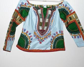 Boho Festival White African Dashiki Print Ladies Longsleeve Top (Size 12)