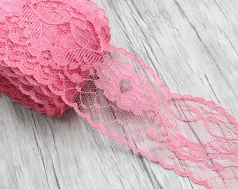 Beautiful deep pink lace, 5.5 cm width, scalloped lace adorned with flowers