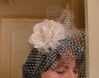 Wedding Birdcage Blusher Veil, White French Netting, Full Face