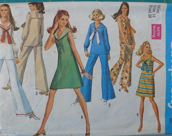 Women's Dress, Blouse and Bell Bottomed Pants Pattern, Vintage Simplicity 8205, Size 16 - CoPA Pattern circa 1960s