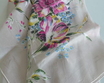 """Vintage Silk Scarf, Made in Japan, light grey with multi coloured flowers, approx 29.5"""" x 29.5"""""""