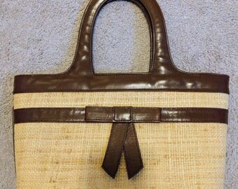 Isabella Fiore Summer hand bag wicker straw with real leather trim pre owned
