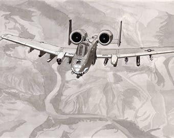 A-10 Warthog 11x14 Ink Wash Painting