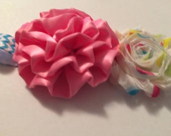 Pink and blue newborn headband