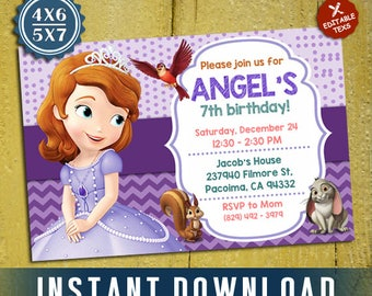 Sofia the First Invitation, Sofia the First, Sofia the First Instant Download, Editable Invitation, Editable PDF Template, Instant Download