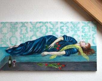 ORIGINAL oil painting on canvas, 60x30 cm