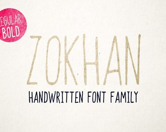 Handwritten font download, Digital font, Handwriting font, Tall font, Skinny font, Instant downloadable font, Zokhan Font Family