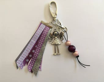 Bag charm - purple - mauve - grey